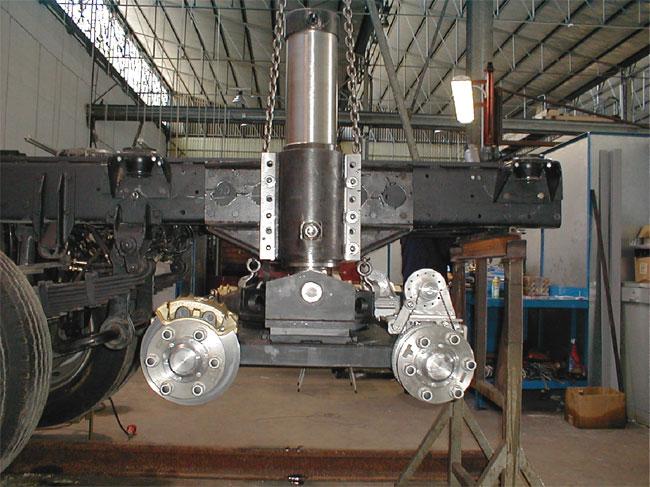 Fase di lavoro: vista del carrello ferroviario